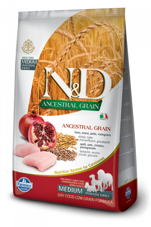 Farmina N&D Ancestral Grain Medium Adult Dog с курицей и гранатом