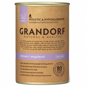 Grandorf Adult All Breeds консервы с кроликом и индейкой, 400 гр