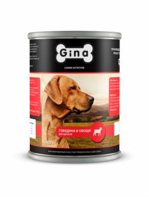 Gina для щенков говядина и овощи