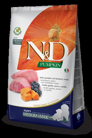 Farmina N&D Pumpkin Medium & Maxi Puppy с мясом ягнёнка, тыквой и черникой