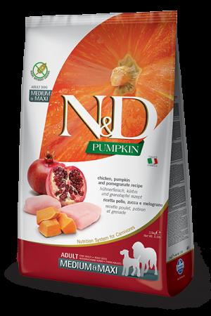 Farmina N&D Pumpkin Medium & Maxi Adult Dog с курицей, тыквой и гранатом