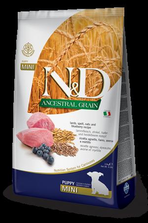 Farmina N&D Ancestral Grain Mini Puppy с мясом ягнёнка и черникой