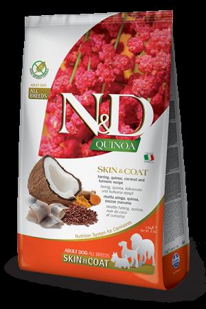 Farmina N&D Quinoa Adult Dog Skin & Coat с сельдью, киноа, кокосом и куркумой