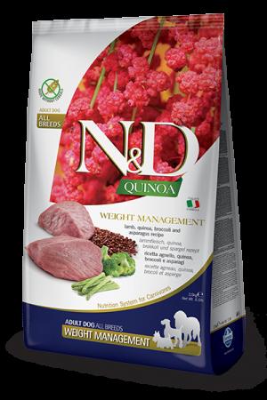 Farmina N&D Quinoa Adult Dog Weight Management с ягнёнком, киноа, брокколи и спаржей