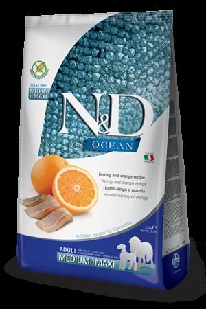 Farmina N&D Ocean Medium & Maxi Adult Dog с сельдью и апельсином
