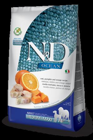 Farmina N&D Ocean Medium & Maxi Adult Dog с треской, тыквой и апельсином