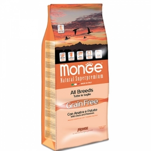 Monge Dog GRAIN FREE All Breeds Adult Anatra