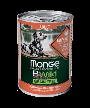 MONGE GRAIN FREE ALL BREEDS ADULT TACCHINO индейка с тыквой и кабачками для собак всех пород