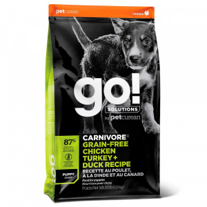 GO! Dog Solutions Carnivore Puppy All Breed Grain Free 4 вида мяса: индейка, курица, лосось, утка
