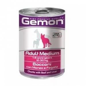 Gemon Dog Medium кусочки говядины с печенью