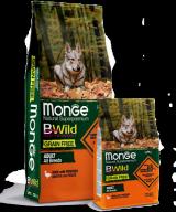Monge BWild Grain Free All Breeds Adult Dog Anatra для взрослых собак всех пород с уткой и картофелем