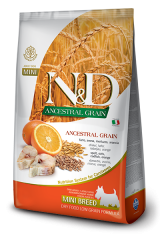 Farmina N&D Ancestral Grain Mini Adult Dog с треской и апельсином