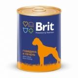 Brit Premium консервы для собак говядина и печень