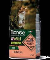 Monge BWild Grain Free Сat Adult Salmone для взрослых кошек с лососем и горохом